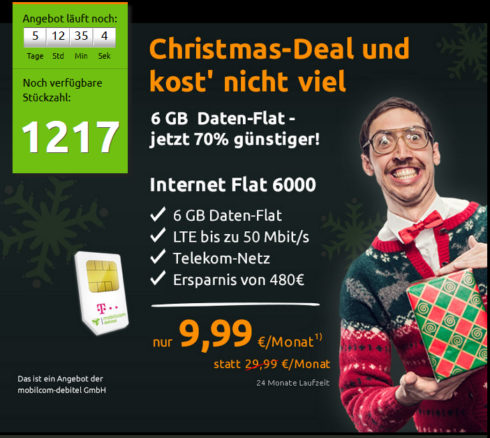 6-GB Datenflatrate im Telekom Netz für nur 9,99 Euro / Monat!