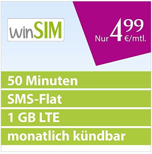 Immer noch zu haben: 50 Freiminuten, SMS-Flat, 1GB LTE im o2-Netz monatlich kündbar für nur 4,99 € pro Monat