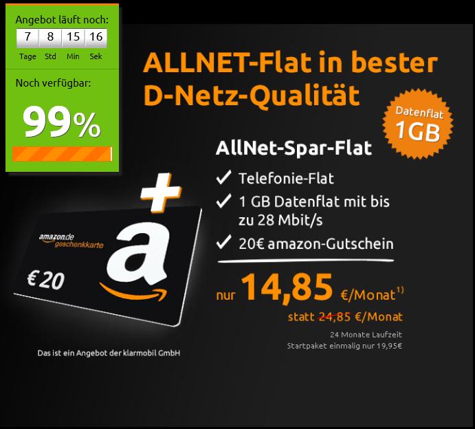 Allnet-Flat + 1GB Datenflat im Telekom Netz für nur 14,85 Euro / Monat!